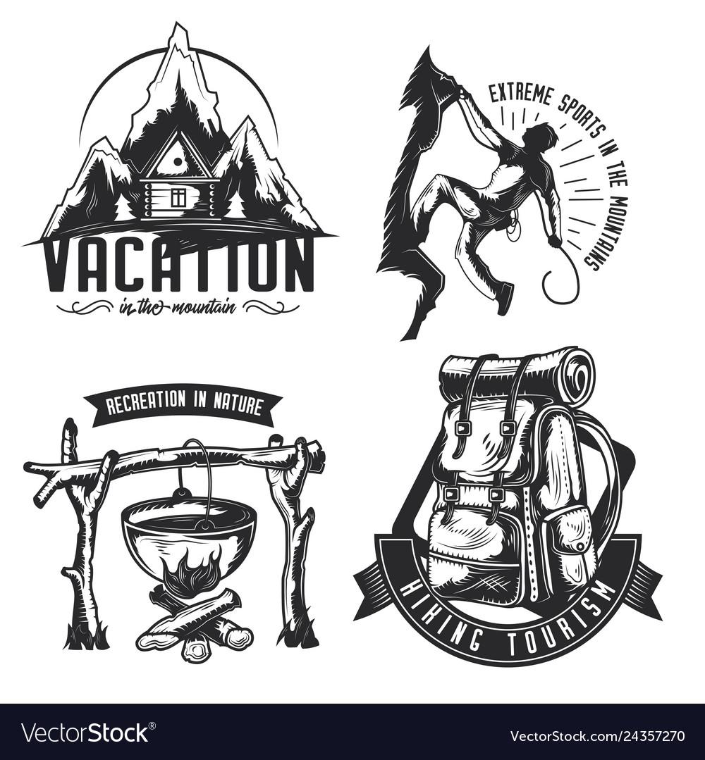 Set of camping emblems labels badges logos