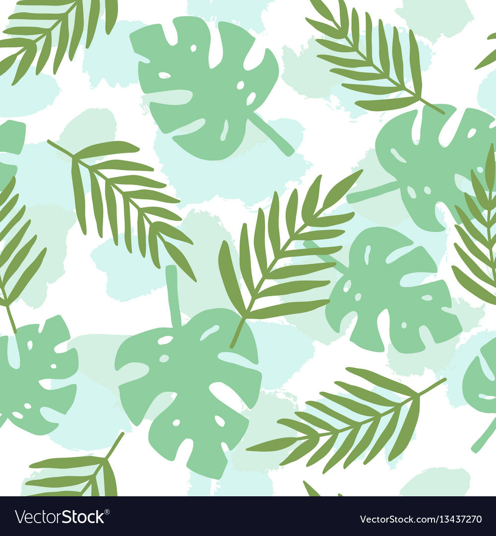Tropical leafs silhouette pattern