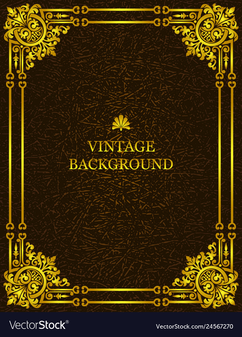 Vintage old background royal gold pattern frame