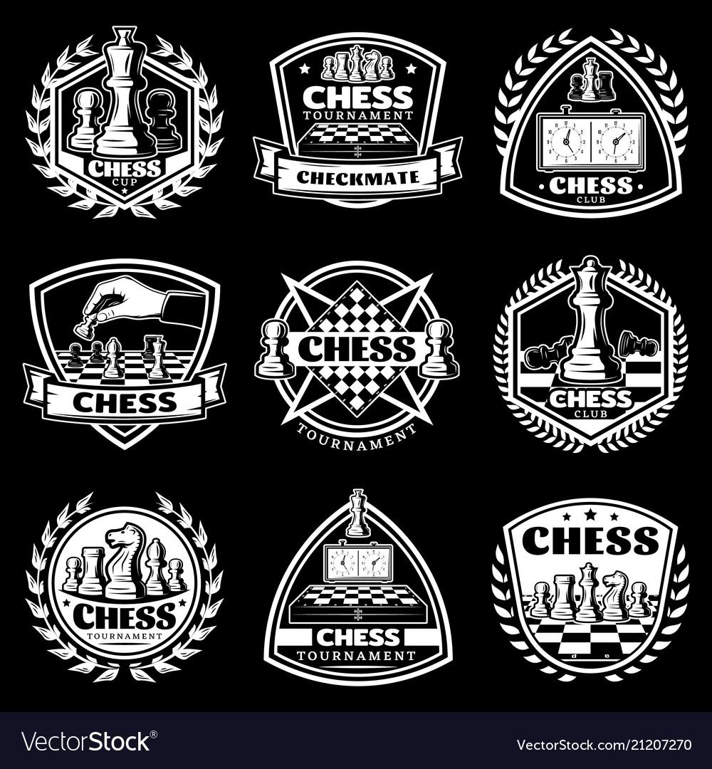 Vintage white chess logos set