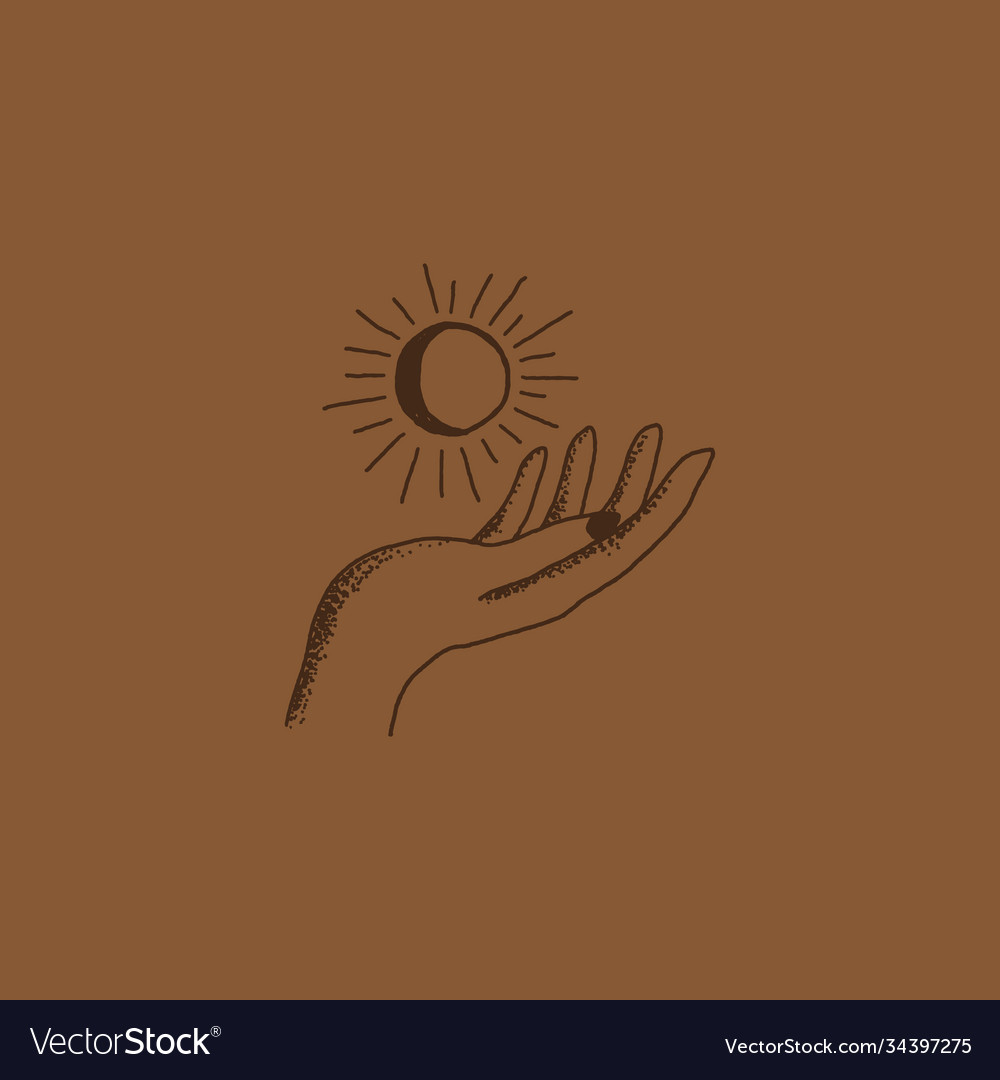 Boho logo hand holding moon and sun