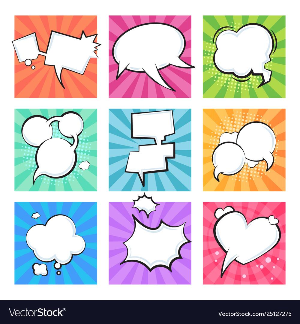 Cartoon comic bubbles speech retro balloons