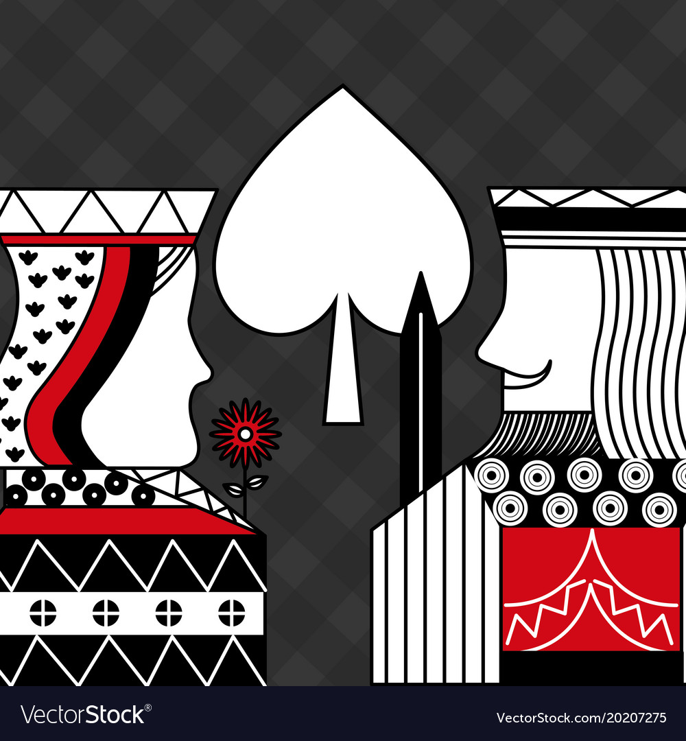 Casino Poker Queen And King Spade Card Game Black Vector Image
