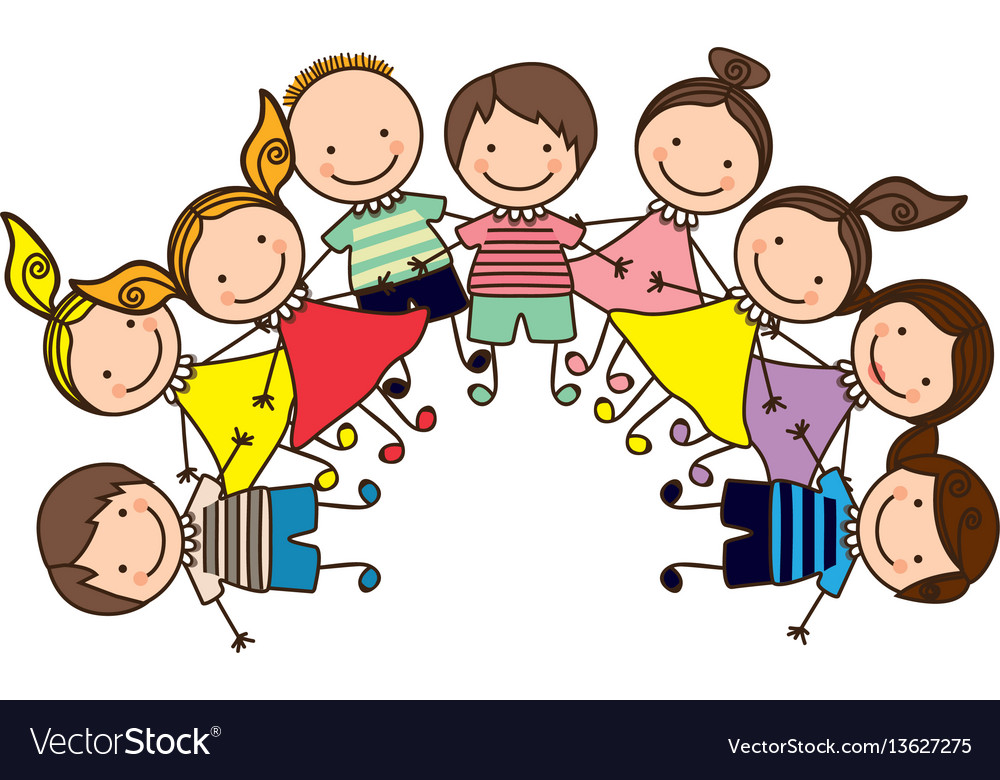 Colorful happy group cartoon children