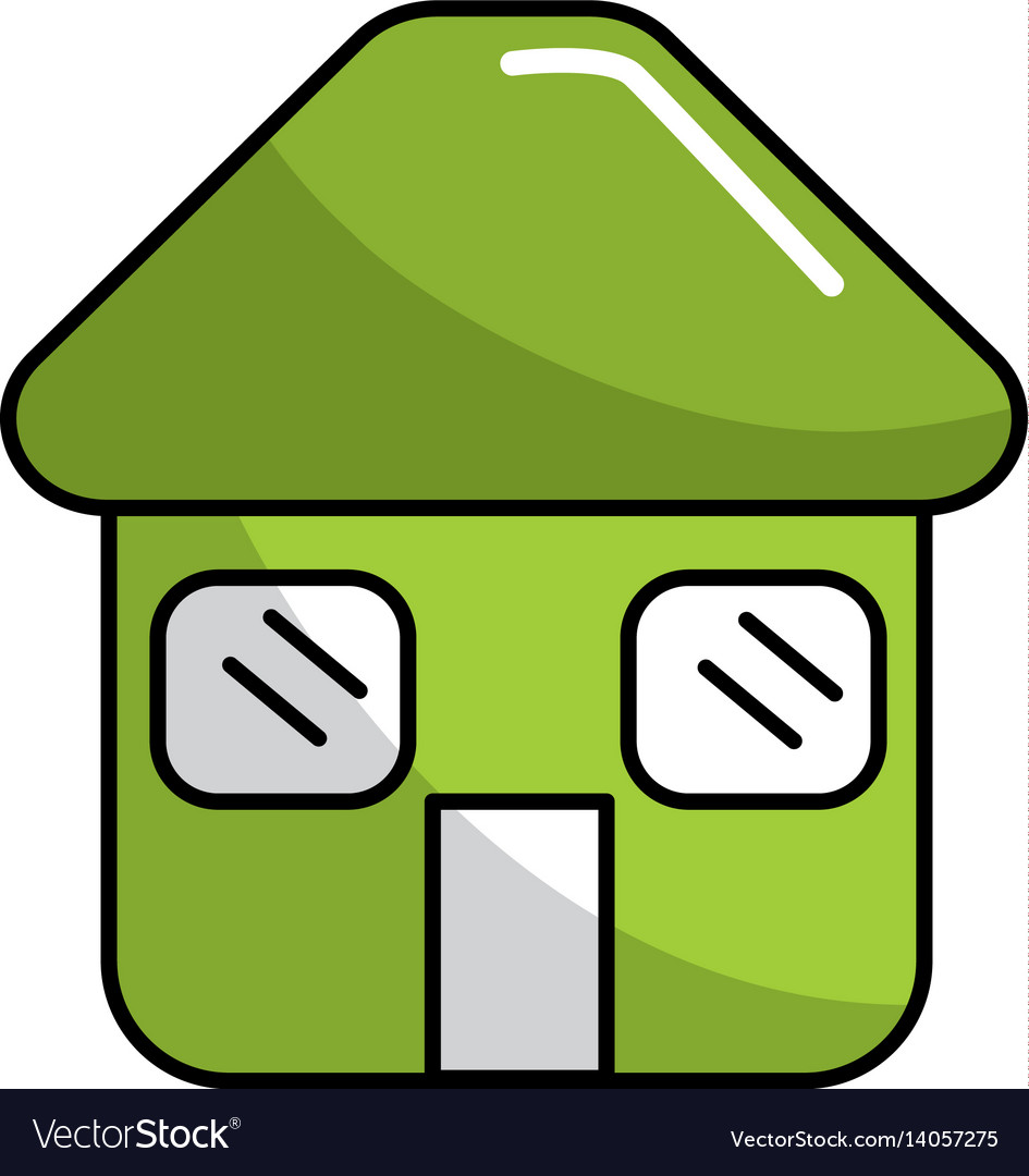 Green house with door roof and windows icon