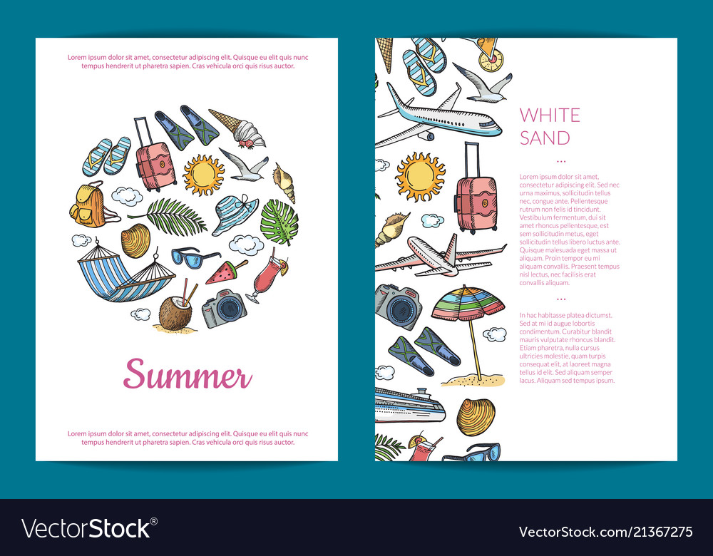 Hand drawn summer travel elements card