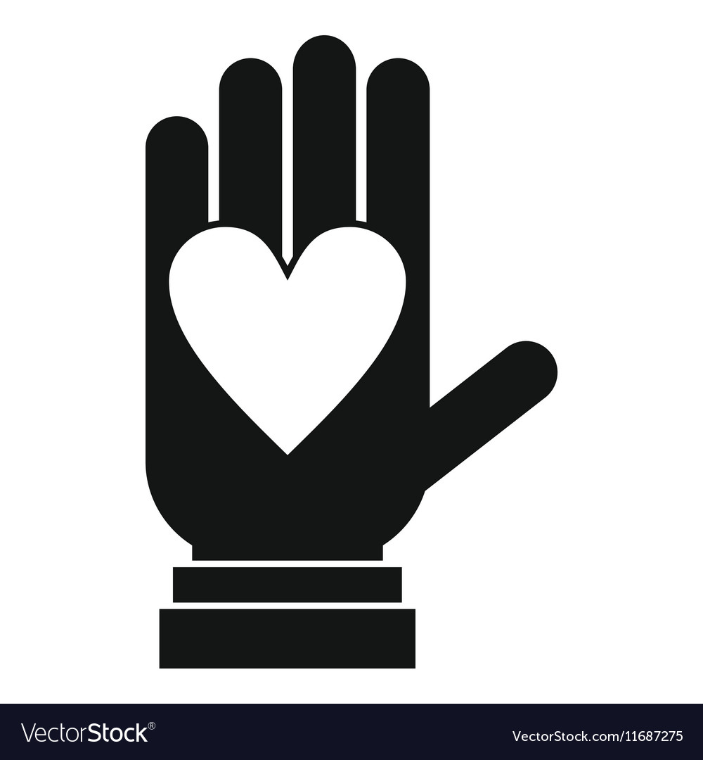 Hand with heart icon simple style
