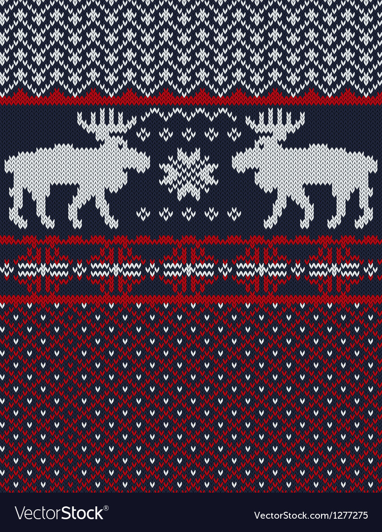 Knitted background with Christmas deers and