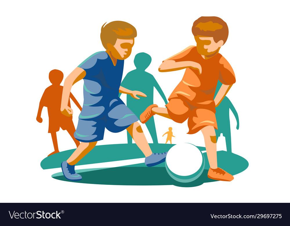 Little kids playing football