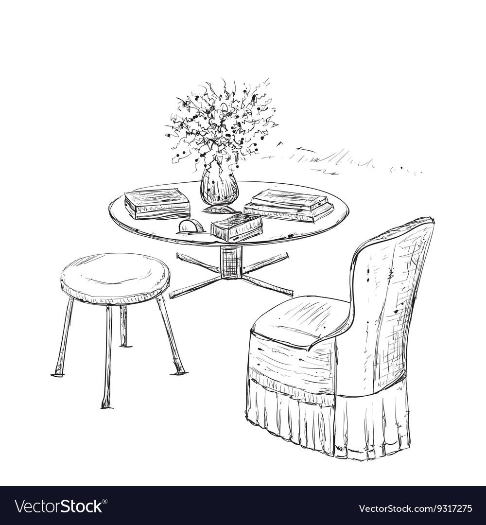 Room interior sketch Hand drawn furniture