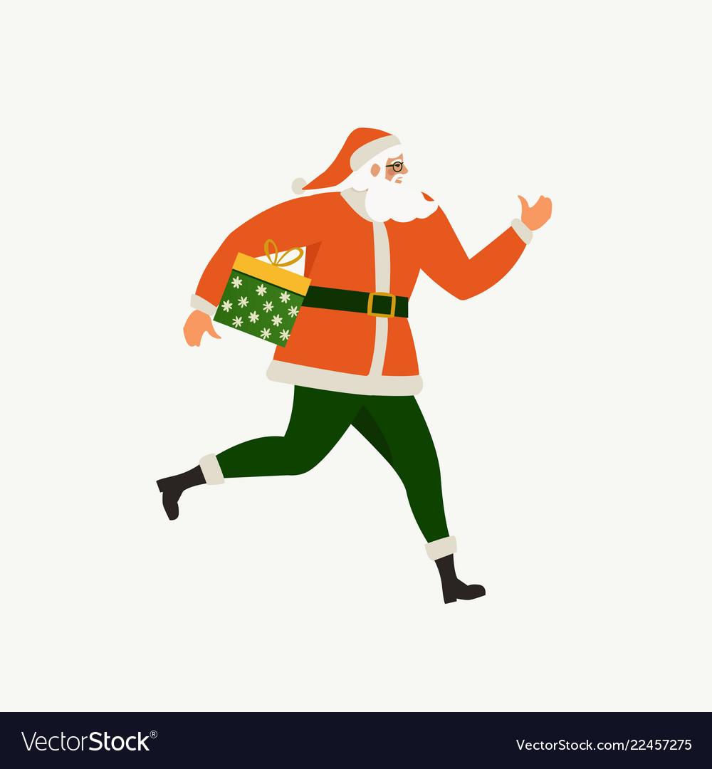 Santa claus running with a gift box santa claus