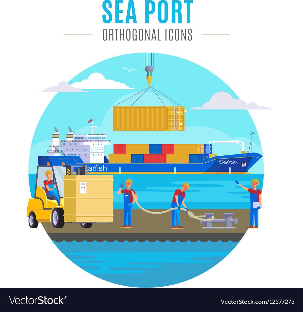 Sea Port Template Royalty Free Vector Image - VectorStock