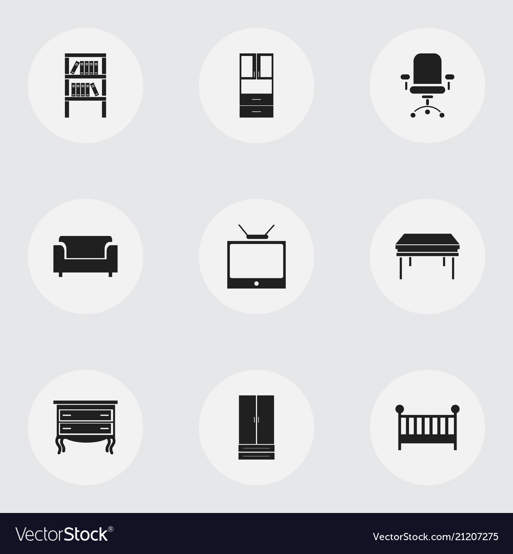 Set of 9 editable furniture icons includes