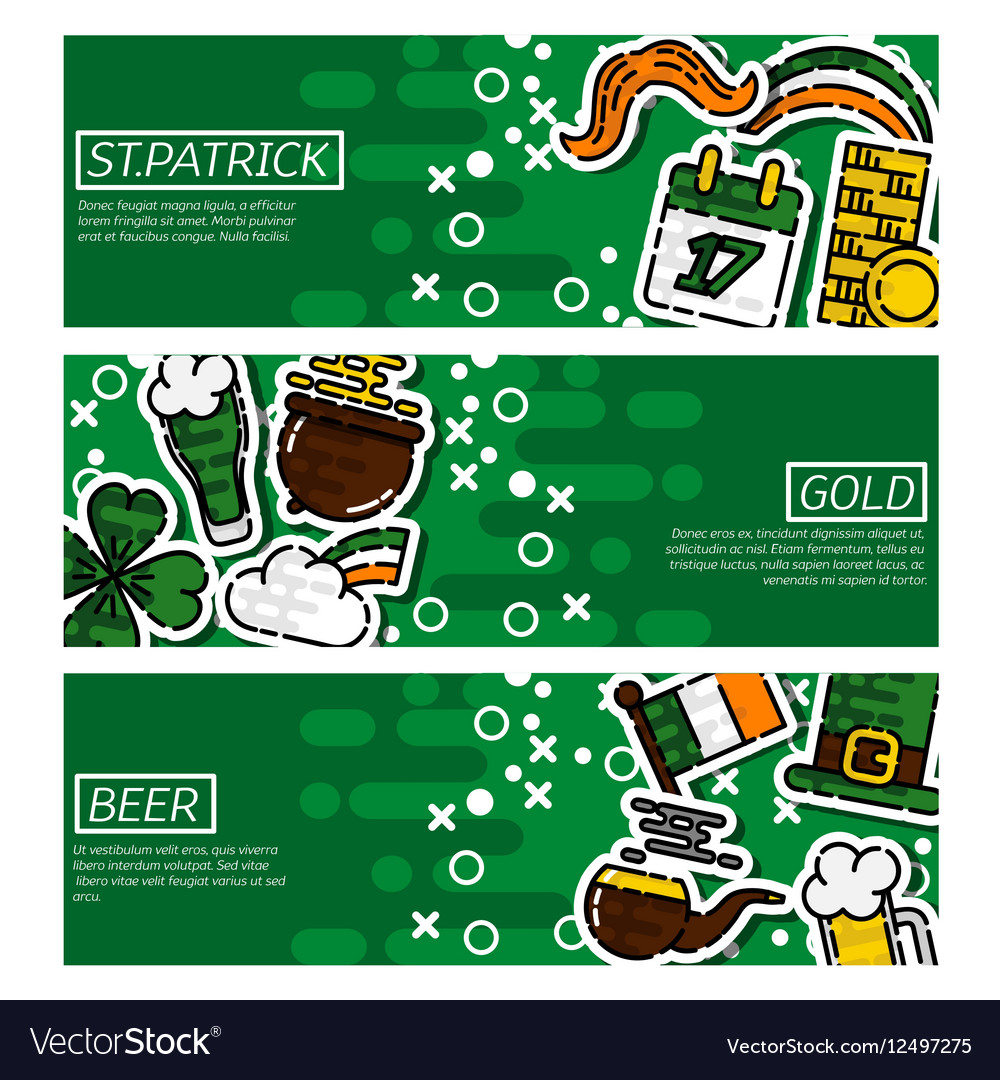 Set of Horizontal Banners StPatricks Day