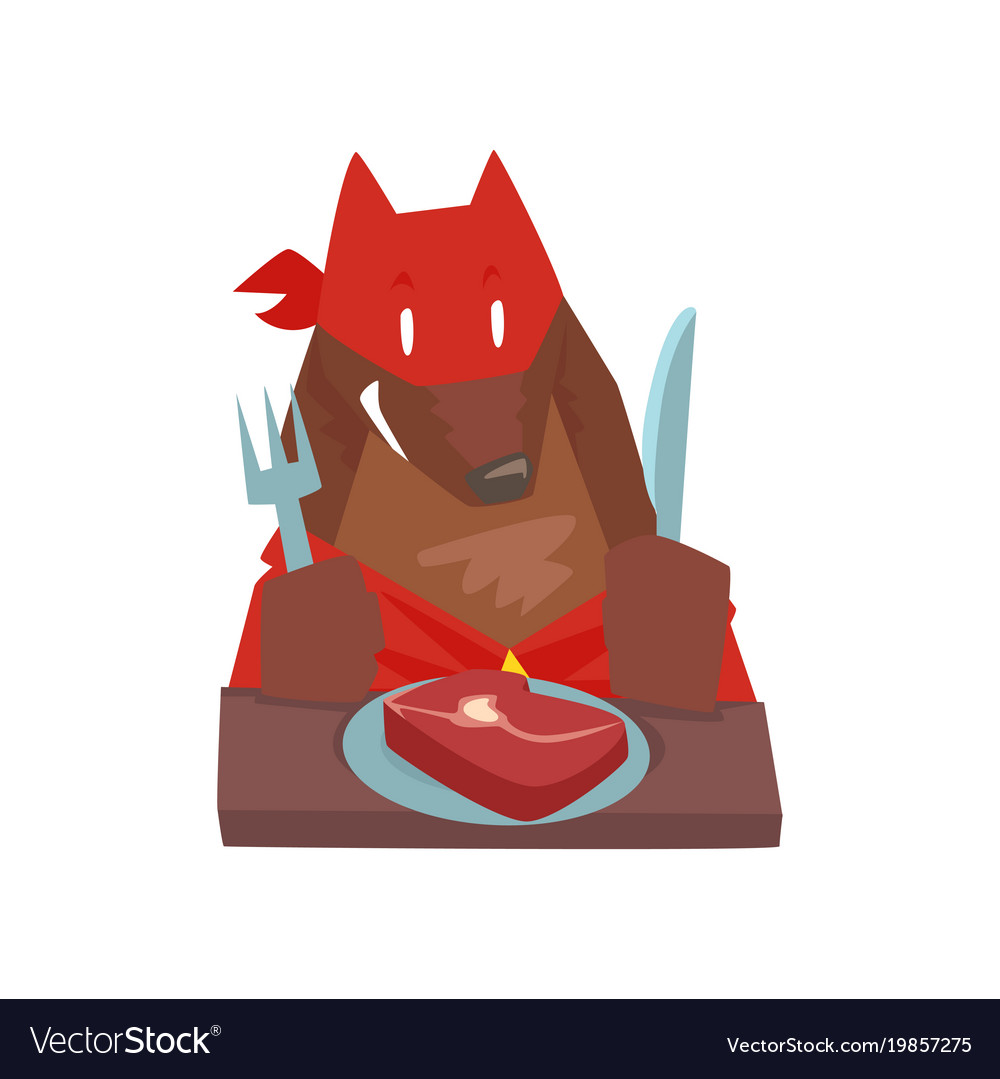 Superhero dog character eating food with fork and