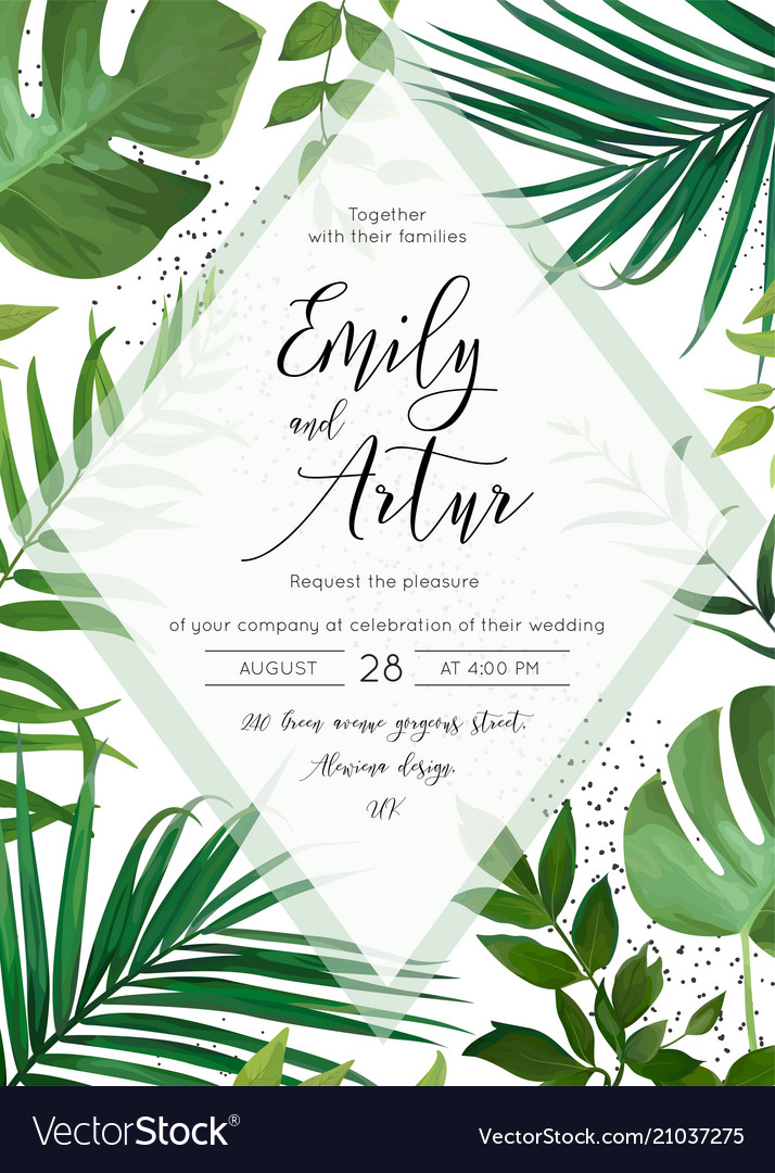 Wedding floral tropical forest watercolor invite