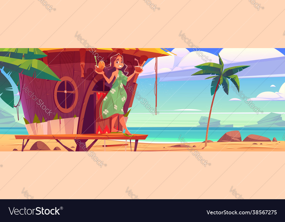 Woman with cocktails in tiki hut on hawaii beach