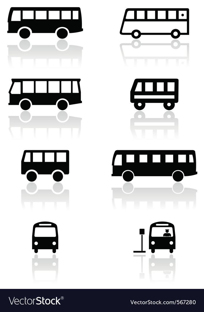 Bus van symbol set vector image
