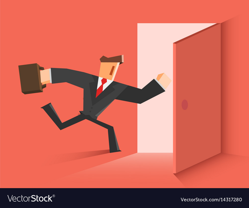 Businessman running in the open door
