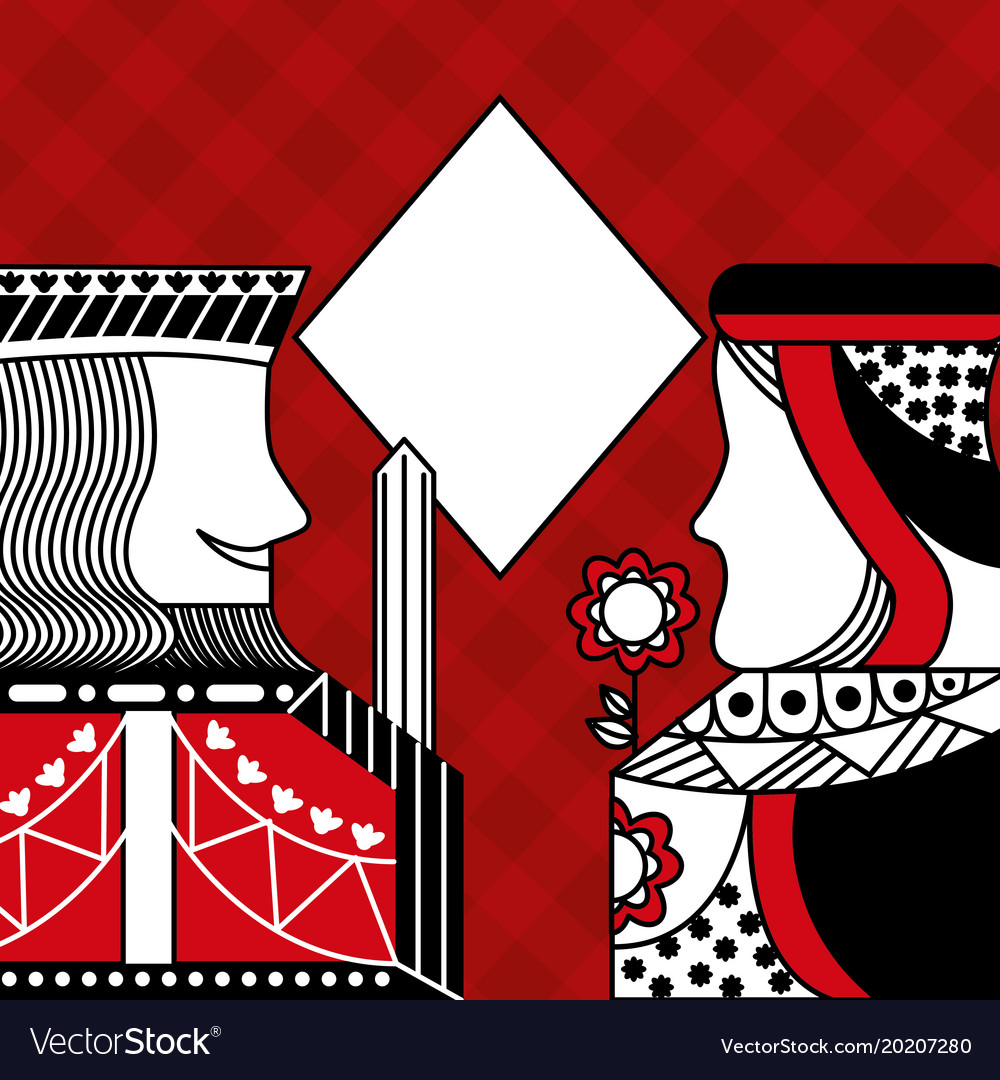 Casino poker queen and king diamond card game red vector image