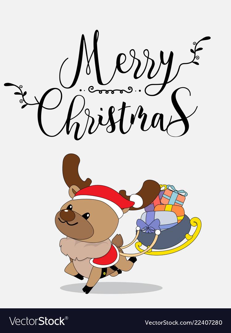 Cute reindeer christmas greeting card