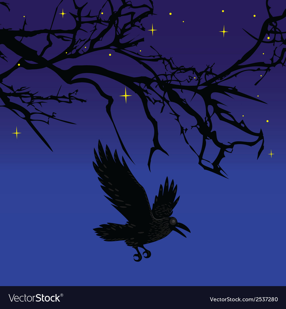 Dark crow bird flying over scary halloween night t vector image