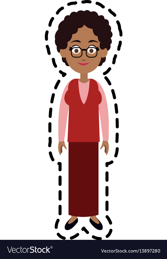 Happy woman cartoon icon image