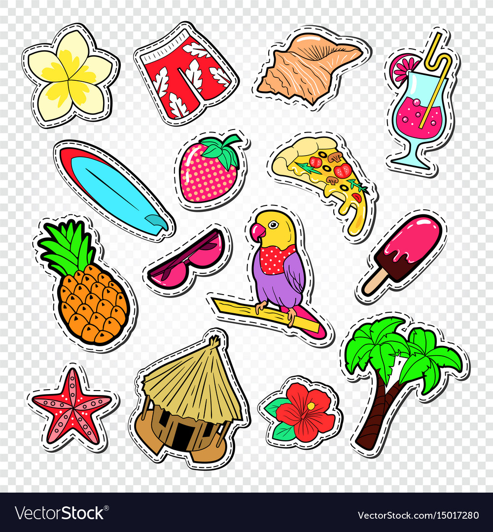 Hello summer doodle beach vacation stickers