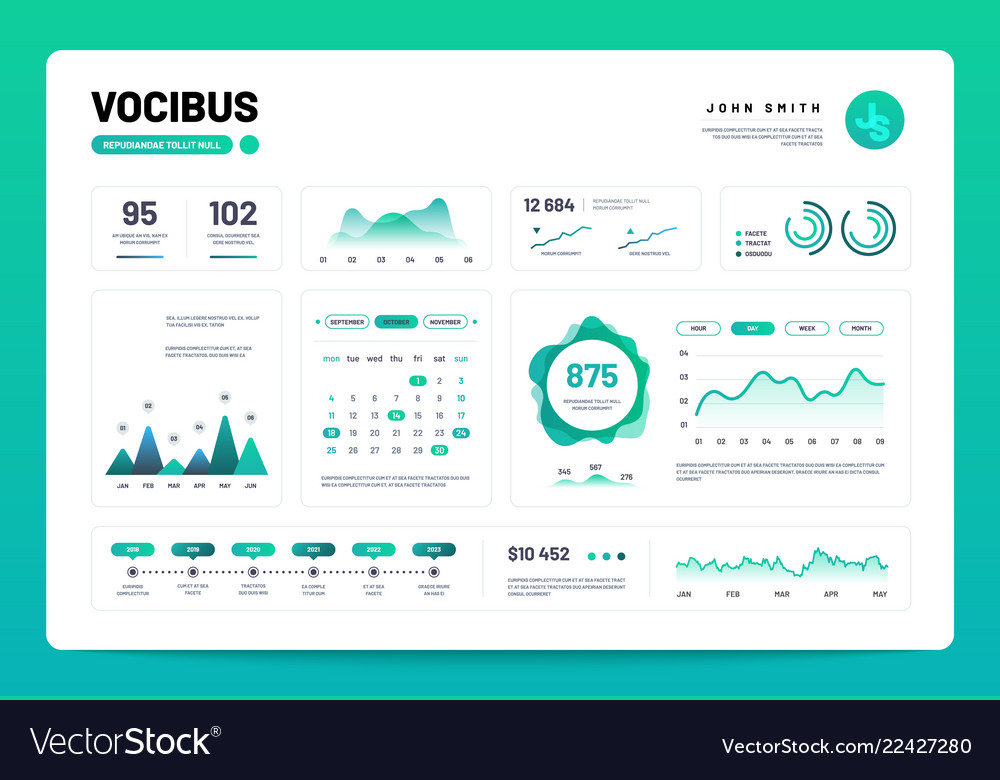 Infographic dashboard admin panel interface with