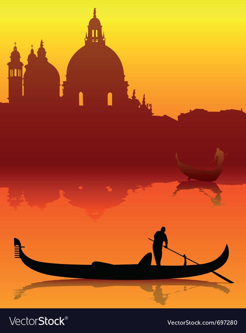 Venetian gondola silhouette
