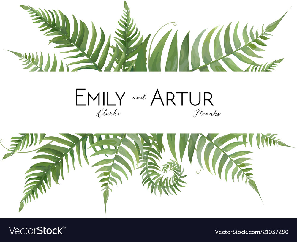 Wedding floral watercolor invite with fern leaves