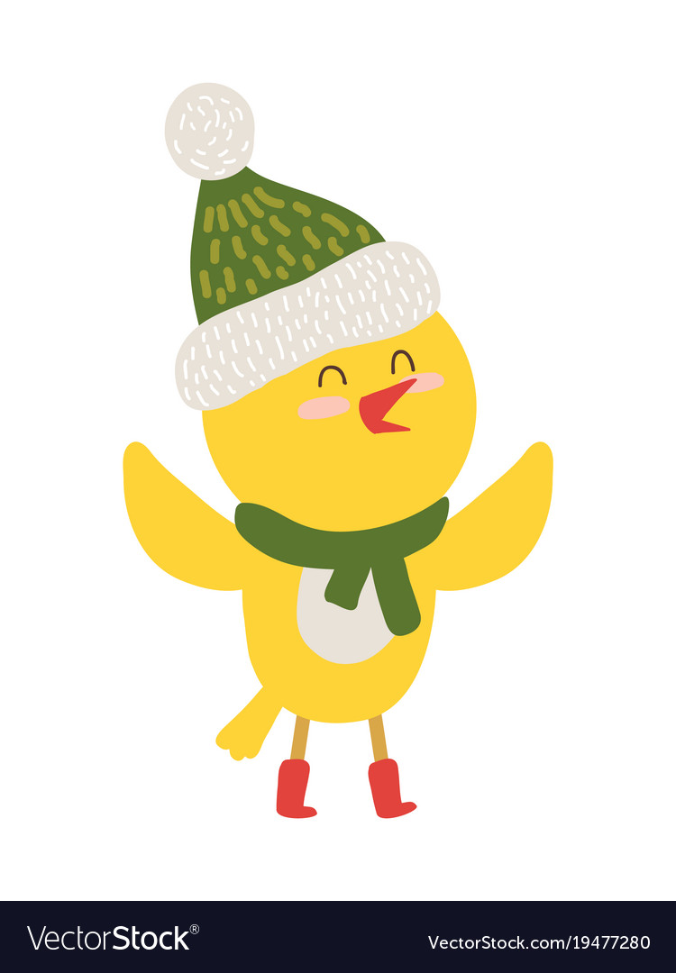 Yellow chiken in scarf icon