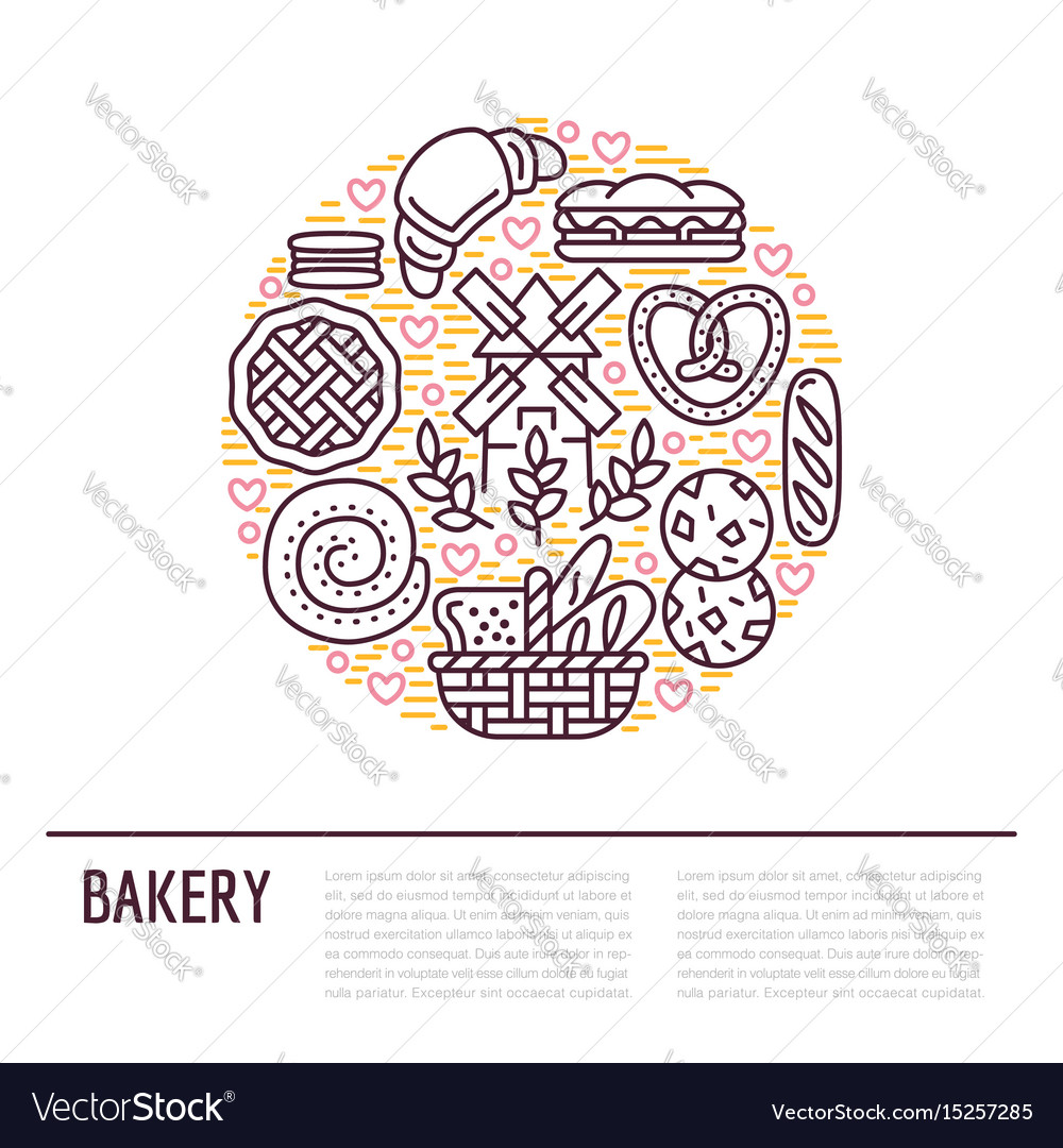 Bakery confectionery poster template food vector image on VectorStock