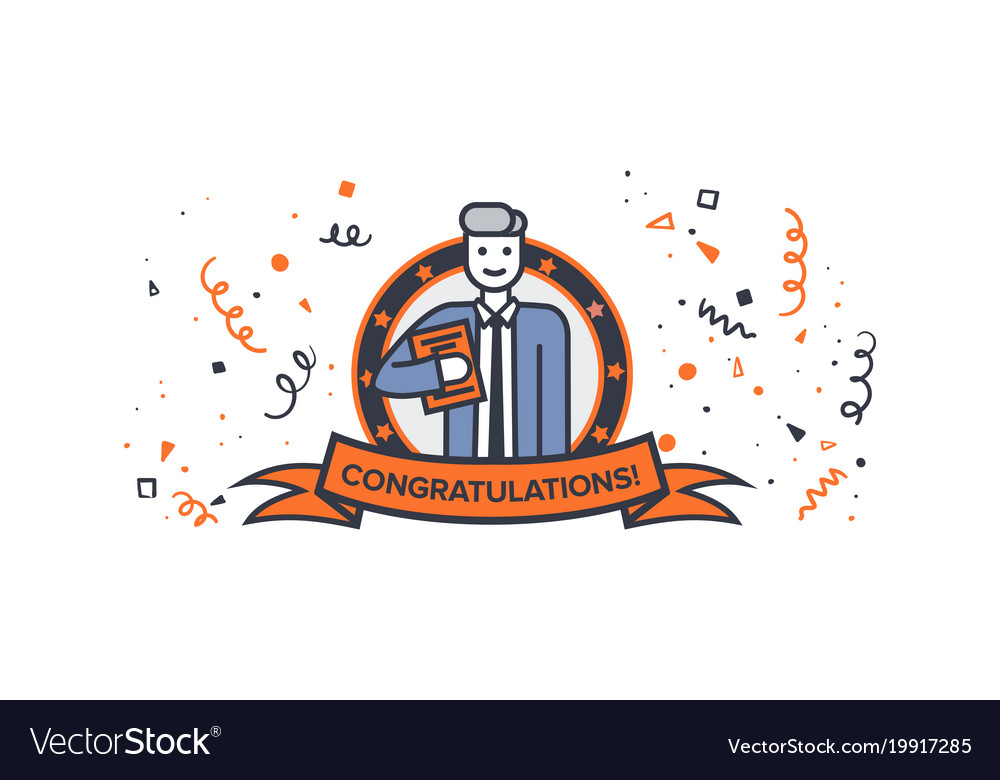 Congratulations man with a book