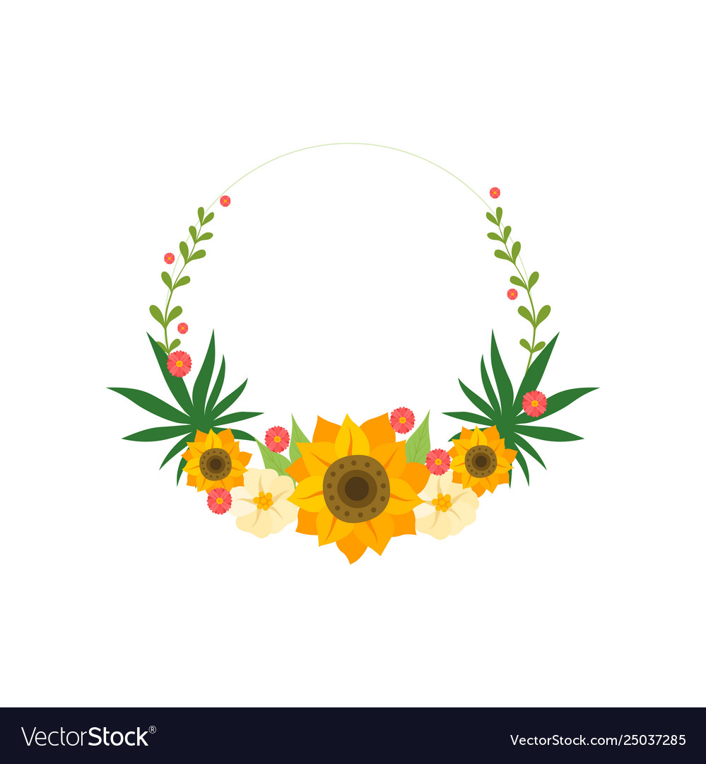Floral wreath circle frame with sunflowers design