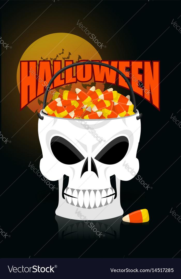 Happy halloween skull basket candy corn trick or