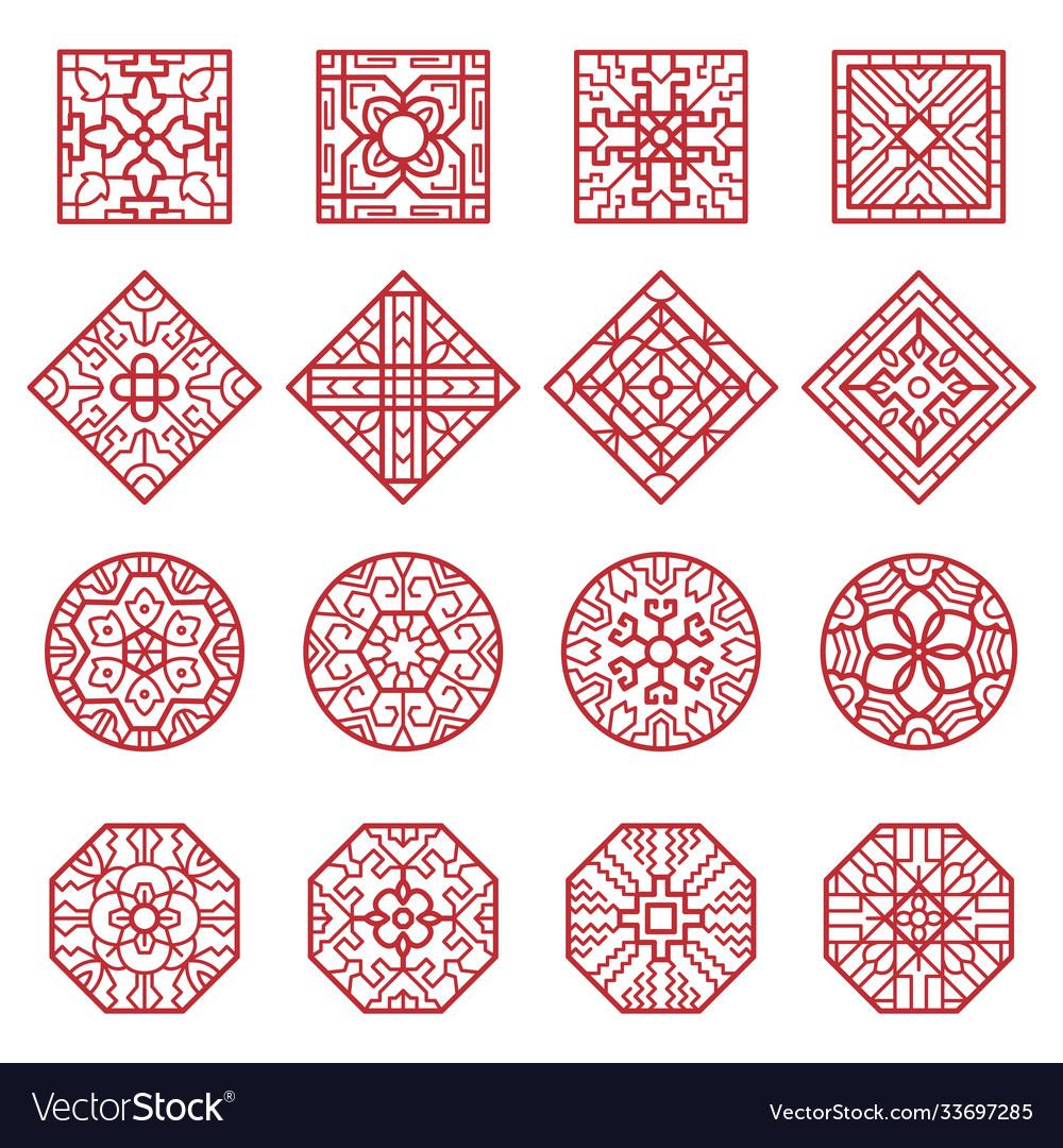 Korean ornament traditional asian geometrical