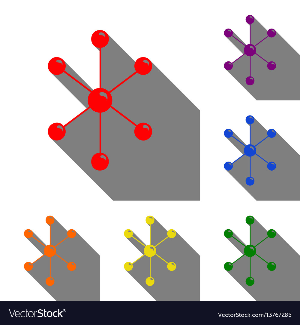 Molecule sign set of red orange vector image