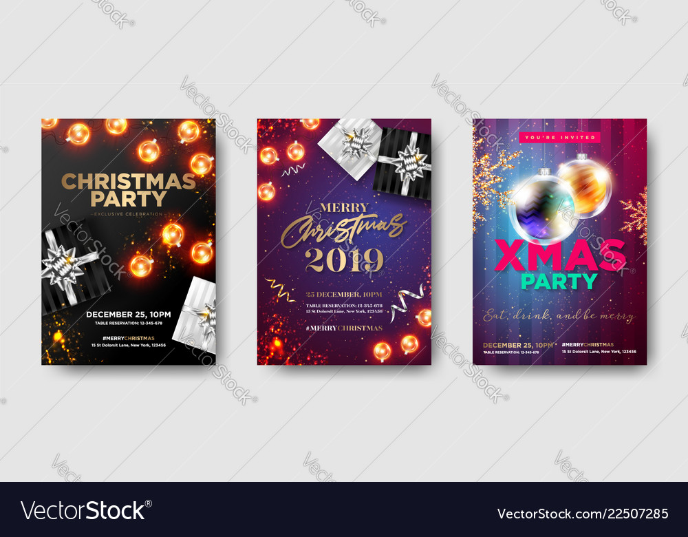 Set of christmas party 2019 invitations winter