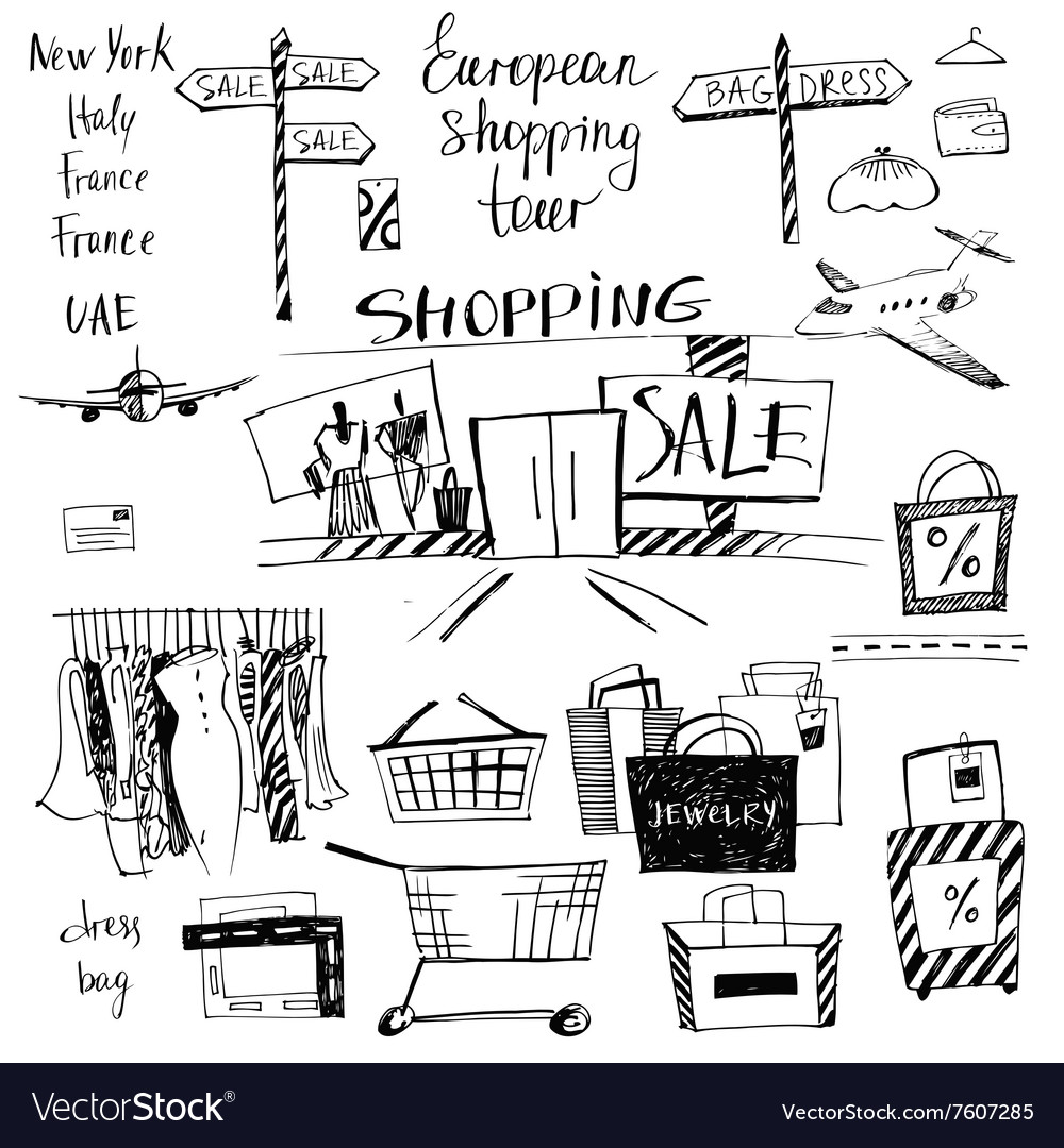 Set of hand-drawn for shopping and travel vector image