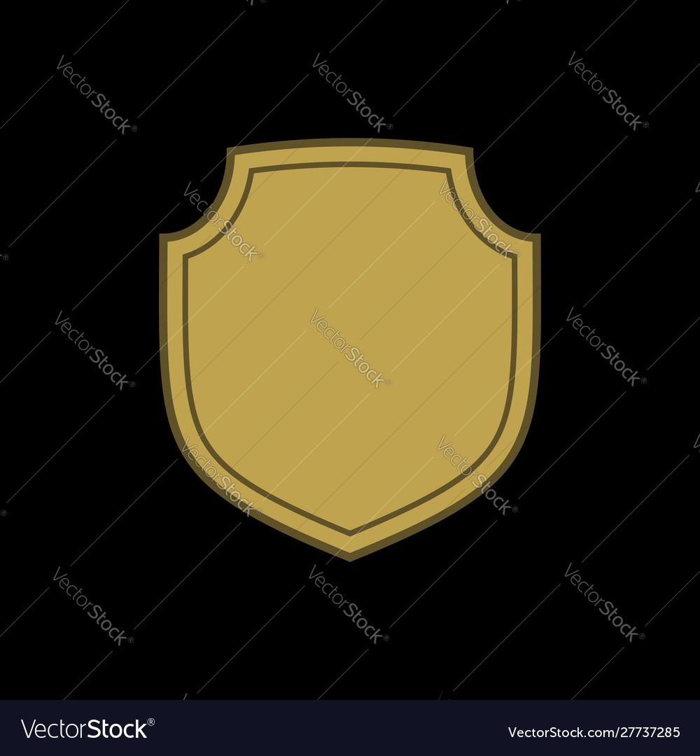 Shield shape gold icon simple flat logo on black