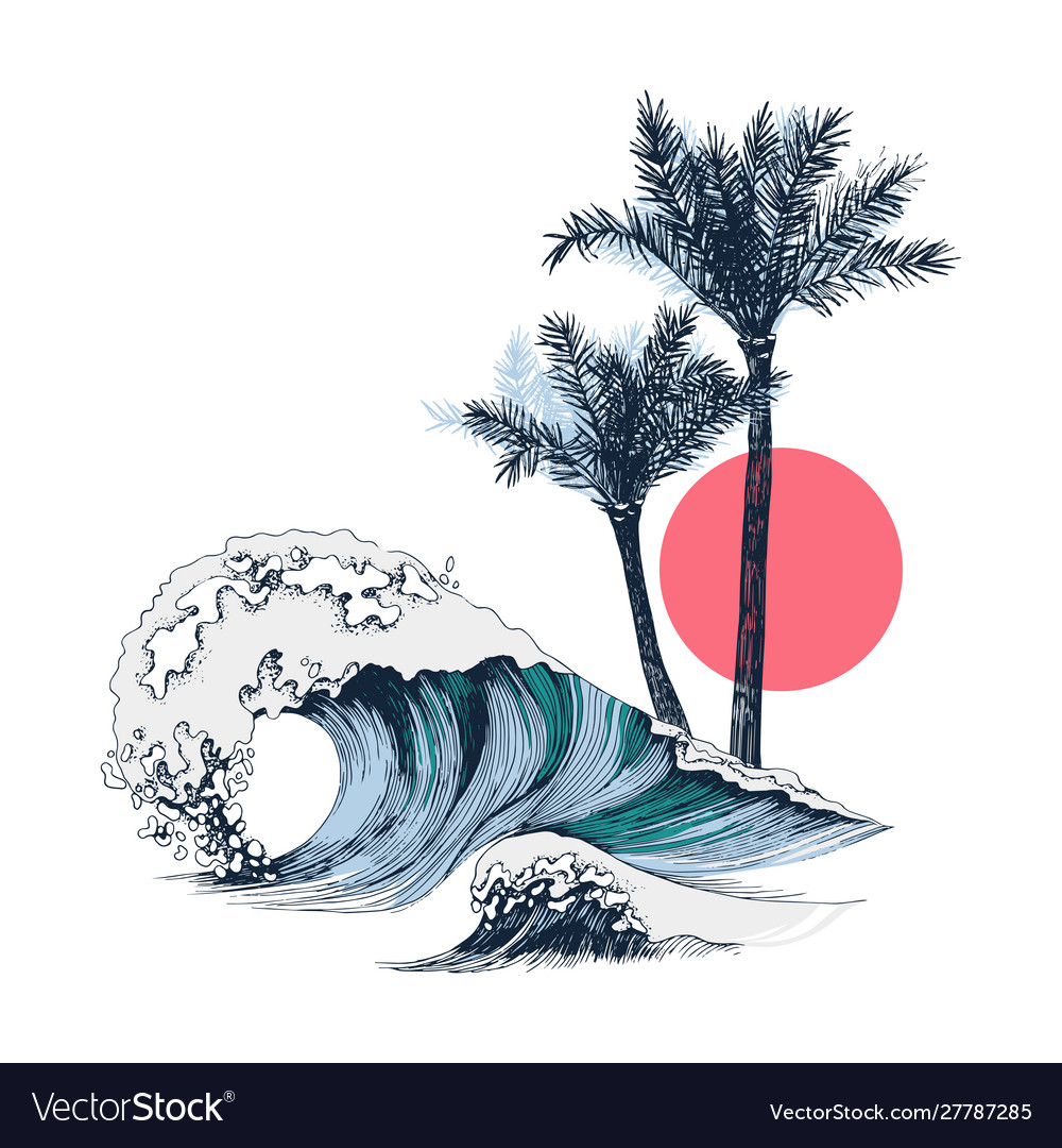 Summer poster with sea waves palms and sun
