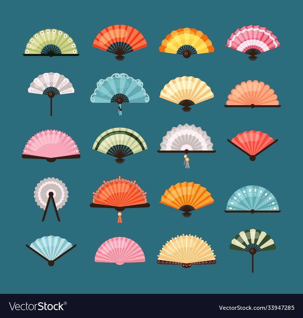 Traditional fans set oriental decoration asian