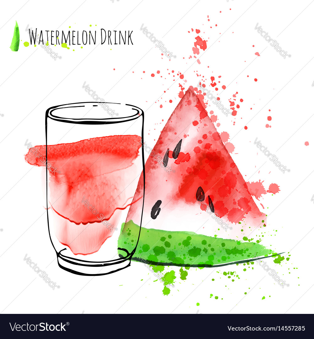 Watermelon drink with slice of watermelon fresh