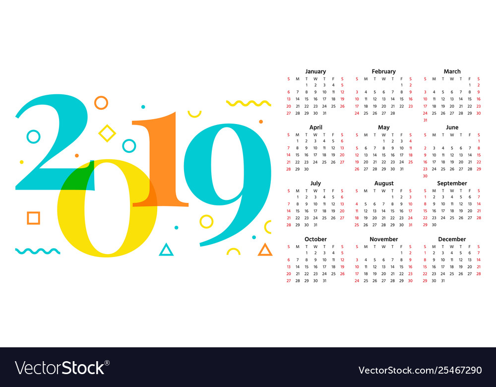 Calendario Julio 2019 Vector.2019 Calendar Year Template Planner Vector Image