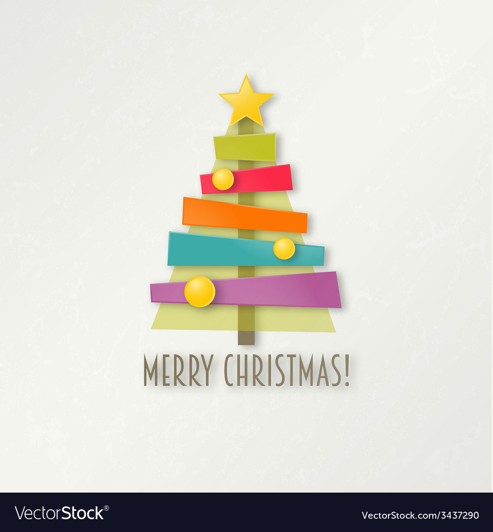 Abstract colorful Christmas tree Greeting card