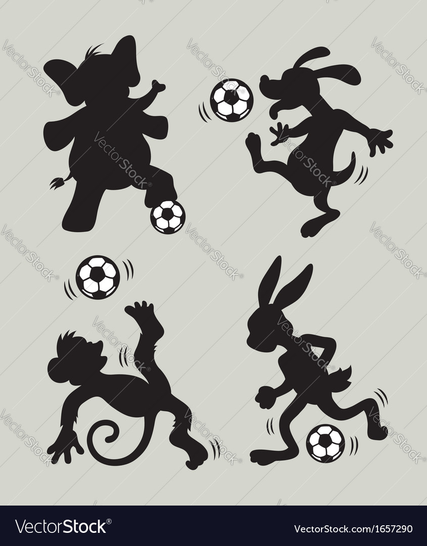 Animal Playing Soccer Silhouettes