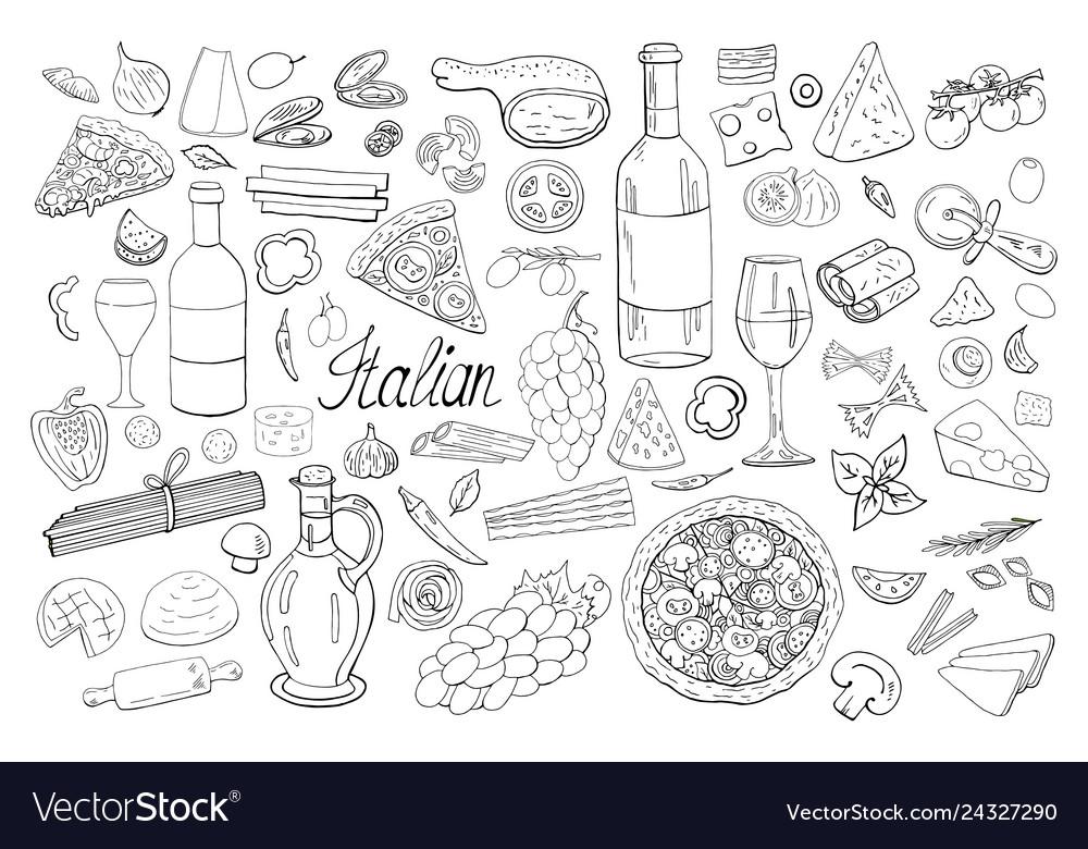 Big hand drawn italian food collection