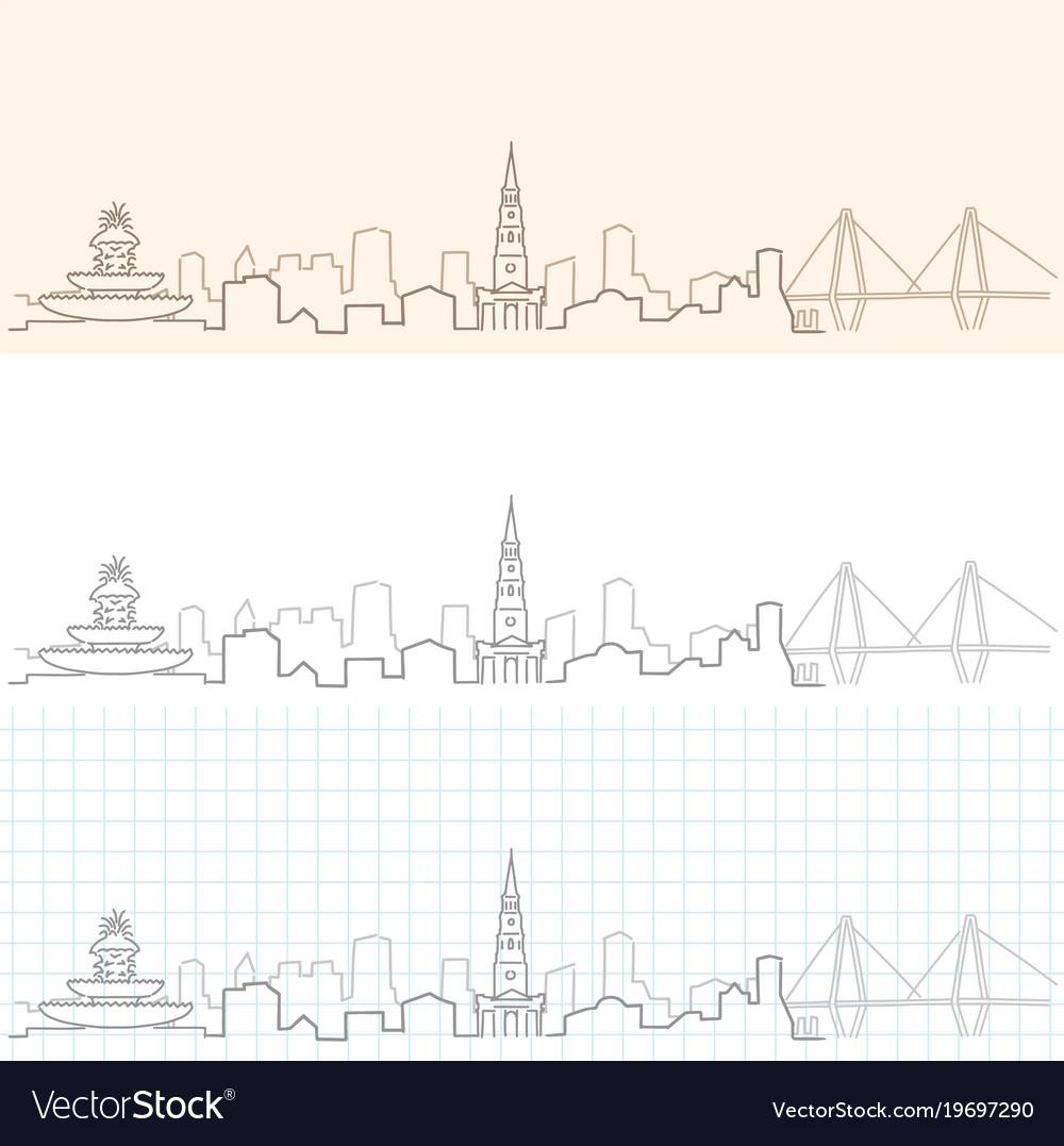 Charleston hand drawn skyline