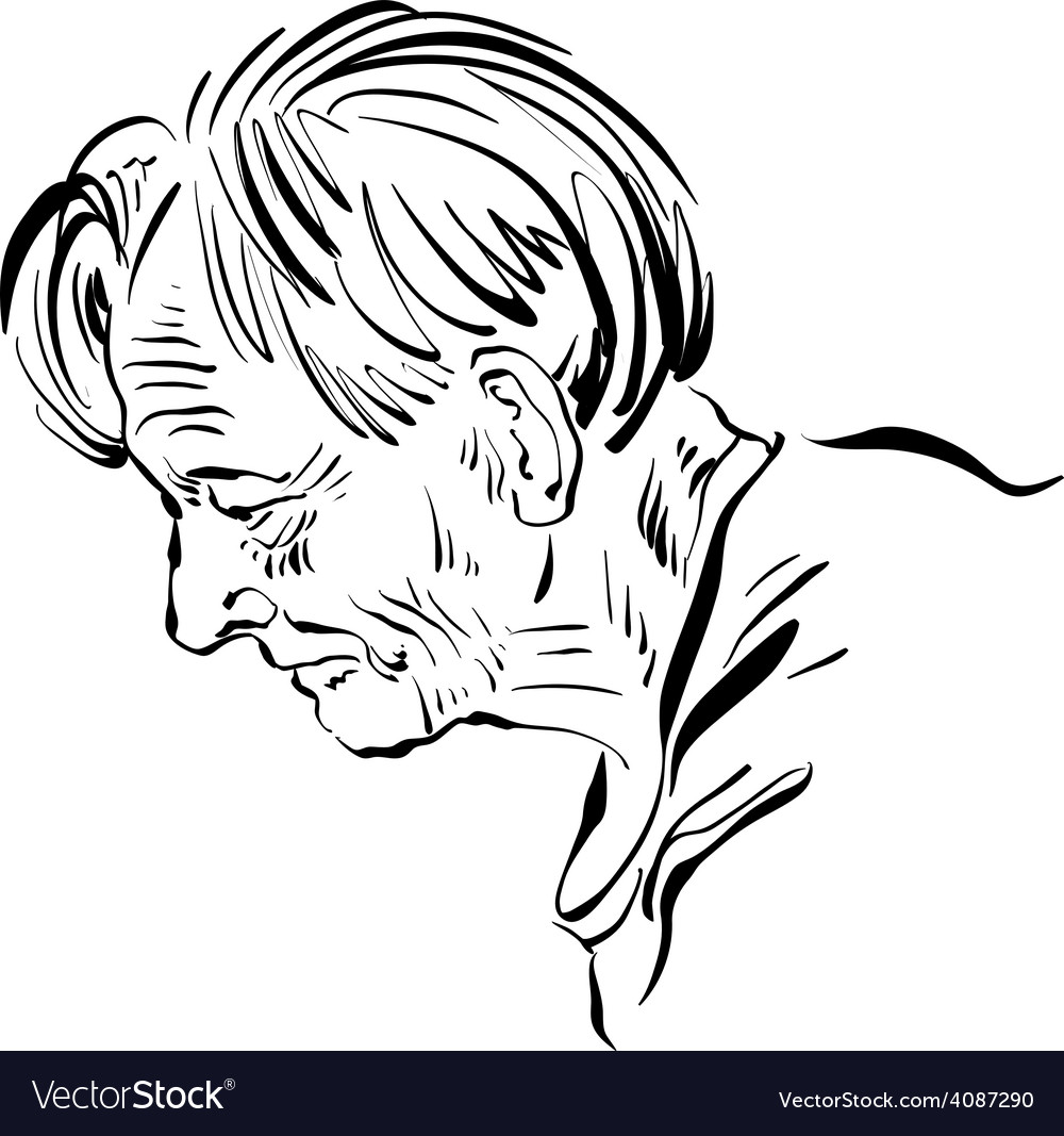 Hand drawn of an old man on white background black
